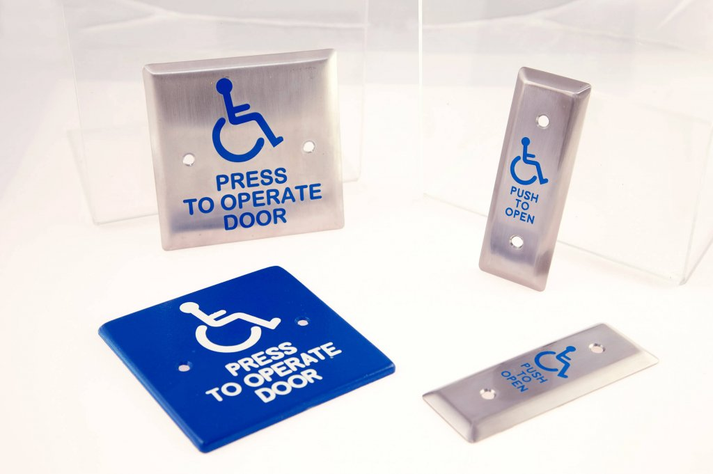 Stamped Aluminum Push Plates for Automatic Handicap Doors