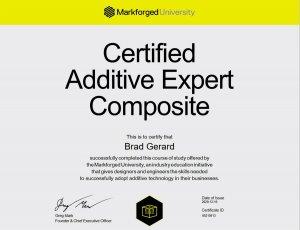 3D Printing Certificate